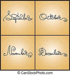 calligraphie, december., octobre, novembre, manuscrit, ensemble, septembre, mots