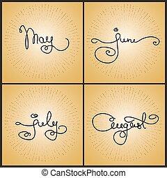 calligraphie, juillet, mai, august., juin, manuscrit, ensemble, mots
