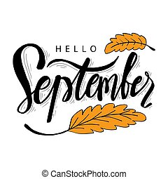 calligraphie, main, bonjour, septembre, lettrage