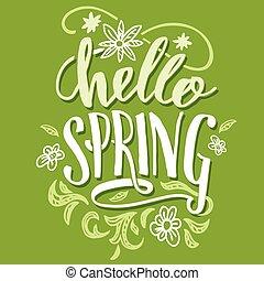 calligraphie, spring., bonjour, carte, brosse