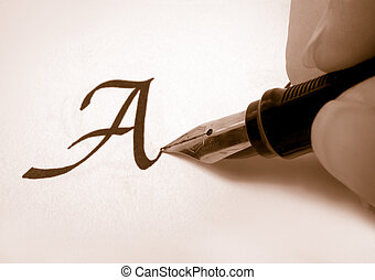 calligraphy pen and writing