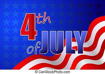 calligraphy., 4, giorno indipendenza, unito, luglio, manifesto, stati