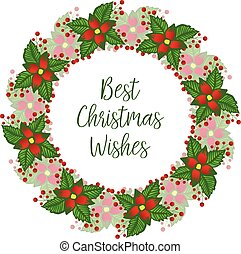 Calligraphy card best christmas wishes, with beautiful red floral frame. Vector