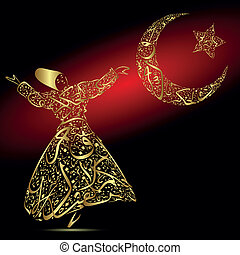 Calligraphy, dervish, moon and star - Semazen drawn with...