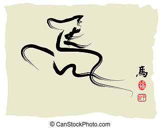 calligraphy-horse, chinees