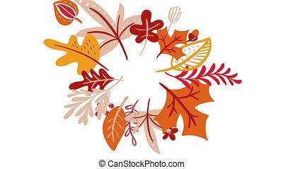 Calligraphy lettering animation text Hello Autumn. ...