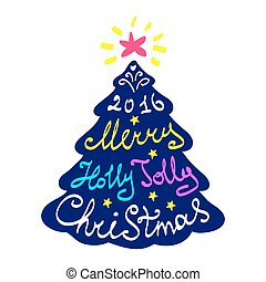 Calligraphy lettering Christmas tree. Merry Christmas lettering, vector illustration.