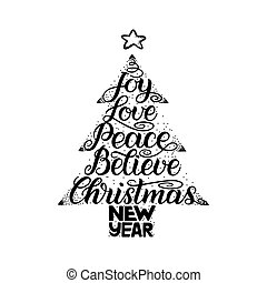 Calligraphy lettering in Christmas tree form with star. New...