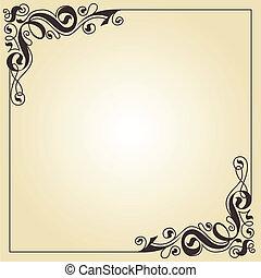 Abstract frame. Calligraphic strokes decor.