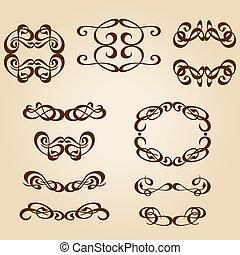 calligraphy ornament frame set-01.eps