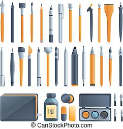 Calligraphy tools icons set, cartoon style