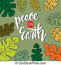 calligraphy., tytuł, ziemia, pokój, ręka