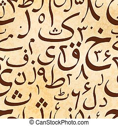 Calligraphy Urdu alphabet letters on old ancient scroll, seamless pattern