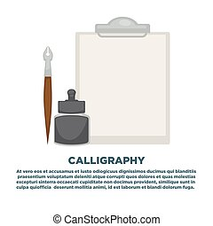 Calligraphy workshop promotional poster with empty pad and old-fashioned pen