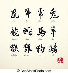 calligraphy zodiac symbols - zodiac symbols calligraphy art...