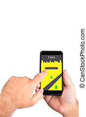 Calling a taxi on the smartphone. Mobile taxi driver call