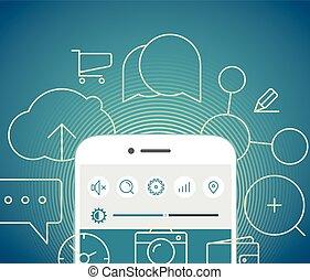 Calling by modern mobile phone illustration. Flat design concept