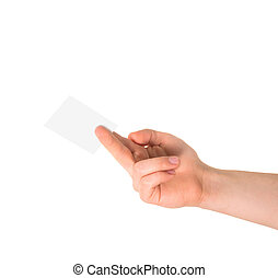 Calling card in a hand isolated