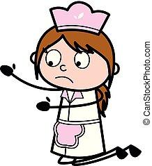 Calling for Hug - Retro Cartoon Waitress Female Chef Vector Illustration