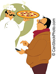 Man calling on his smart-phone, pizzeria chef appearing in front of him with a fresh pie, vector illustration, no transparencies