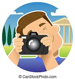 calling., foto, sorrindo, pontos, coração, menina, love., mútuo, finger., tela, namorando, bolha, fala, namorando, aquilo, telefone., screen., telefone, mostra, local., sujeito, vídeo, online