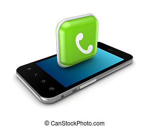 calling., icona, telefono, mobile