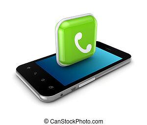 calling., ikon, ringa, mobil