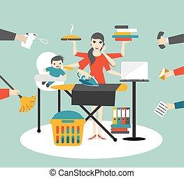 calling., mère, coocking, femme affaires, fonctionnement, woman., multitask, bébé, repassage
