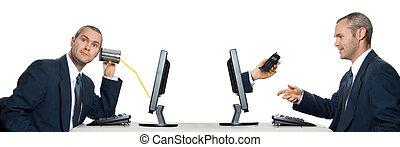 Calling - one man calling other man via internet phone