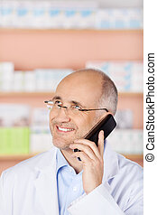 Calling pharmacist with phone