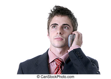 calling - man on the phone over a white background