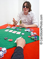 Calling the Bluff - A poker player wearing large sunglasses...