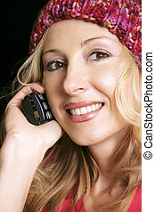 Calling you - A woman makes or receives a phone call Camera ...