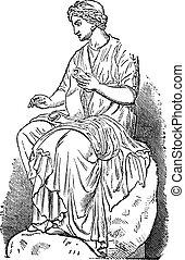 calliope, múza, o, epický, básnictví, vinobraní, vyřezávat,...