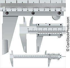 calliper square, realistic measuring object - vector...