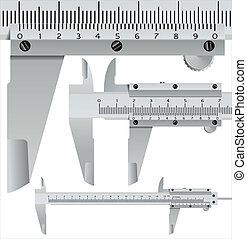 calliper square, realistic measuring object - vector illustration