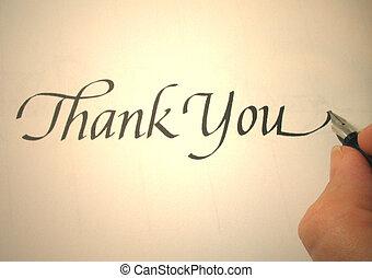 callligraphy, ön, hálát ad