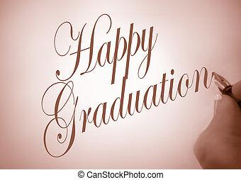 callligraphy, 毕业, 开心