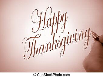 callligraphy, felice, ringraziamento