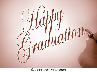 callligraphy happy graduation - Person writing Happy...