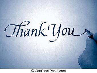 callligraphy, lei, ringraziare
