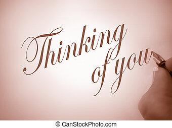 callligraphy, pensamiento, de, usted