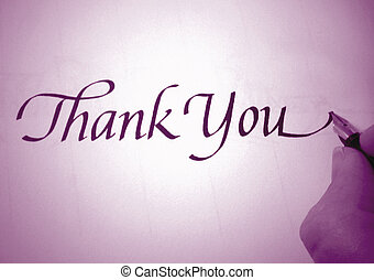 callligraphy thank you - person writing thank you in...