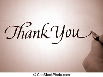 callligraphy thank you - person writing thank you in ...