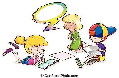 callout, estudar, crianças, vazio, modelo
