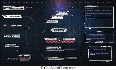callouts, third.sci-fi, 旗, 概念, hud, game., titles., ui, set., 空, より低い, ユーザー, テキスト, 高く, サイエンスフィクション, 旗, gui, フレーム, 技術, インターフェイス, 要素, design., スクリーン, ビデオ, 現代, 未来派