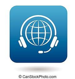 Calls around world icon, flat style