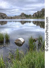 Calm and peaceful Sylvan Lake.