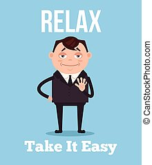 Calm and relax office worker businessman character. Vector flat cartoon illustration