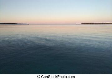No wind or waves at dusk on Georgian Bay.